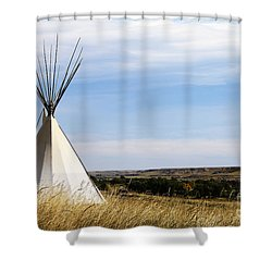 Shower Curtain featuring the photograph Blackfoot Teepee by Alyce Taylor