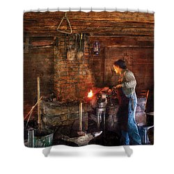 Blacksmith - Cooking With The Smith's  Shower Curtain by Mike Savad
