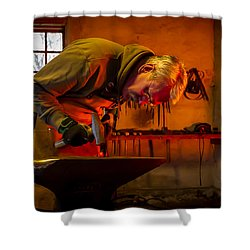 Blacksmith In Torresta Shower Curtain by Torbjorn Swenelius