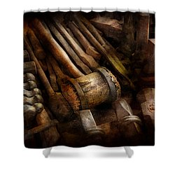 Blacksmith - The Art Of Pounding  Shower Curtain by Mike Savad