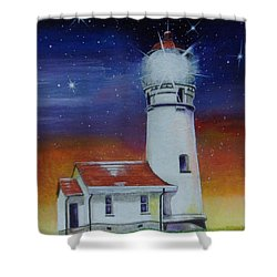 Shower Curtain featuring the painting Blanco Lighthouse by Thomas J Herring