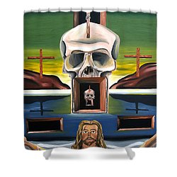 Shower Curtain featuring the painting Blasphemixition by Ryan Demaree