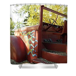 Blazing Red Fire Truck Shower Curtain