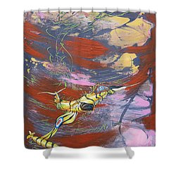 Blazing Starfighter Shower Curtain
