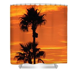 Shower Curtain featuring the photograph Blazing Sunset by Deb Halloran