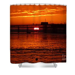 Shower Curtain featuring the photograph Blazing Sunset by Vicki Spindler