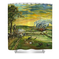 Shower Curtain featuring the painting Bleeding Kansas - A Life And Nation Changing Event by Mary Ellen Anderson