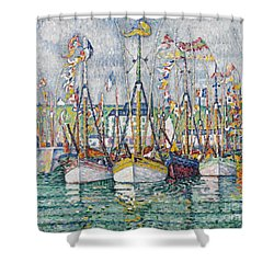 Blessing Of The Tuna Fleet At Groix Shower Curtain by Paul Signac