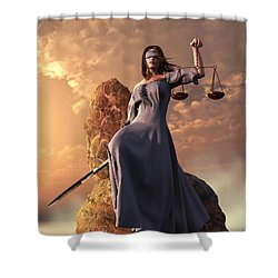 Blind Justice With Scales And Sword Shower Curtain