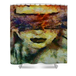 Shower Curtain featuring the digital art Blinded By Sorrow by Joe Misrasi