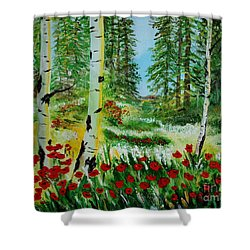 Shower Curtain featuring the painting Bliss by Leslie Allen