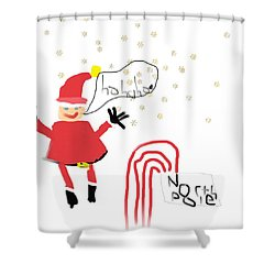 Blizzard In The North Pole Shower Curtain by My seven year old