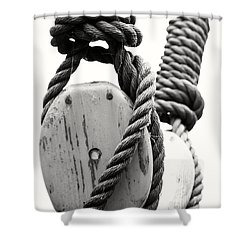 Block And Tackle Of Old Sailing Ship Shower Curtain