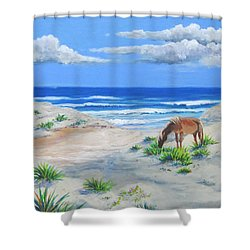 Blonde On The Beach Shower Curtain by Anne Marie Brown