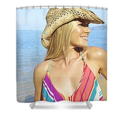 Blonde Woman In Hawaii Shower Curtain by Kicka Witte