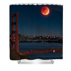 Blood Moon Over Golden Gate Bridge Shower Curtain by Dan Hartford