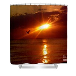 Blood Red Sunset Shower Curtain by Carla Carson