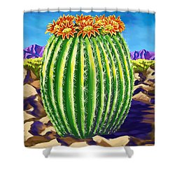Shower Curtain featuring the painting Blooming Barrel Cactus by Tim Gilliland