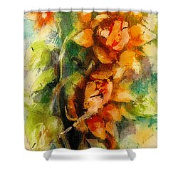 Shower Curtain featuring the painting Blooming Flowers - Batik by Bernadette Krupa