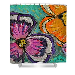 Shower Curtain featuring the painting Blooming Flowers by Joan Reese