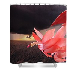 Blooms Against Tornado Shower Curtain