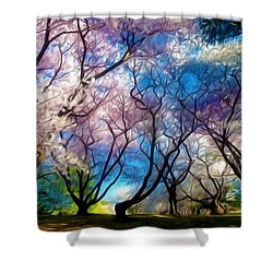 Blossom Cherry Trees Over Spring Sky Shower Curtain