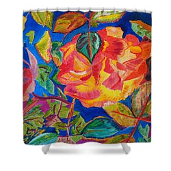 Shower Curtain featuring the painting Blossoms Aglow by Meryl Goudey
