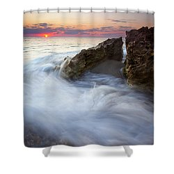 Blowing Rocks Sunrise Shower Curtain by Mike  Dawson