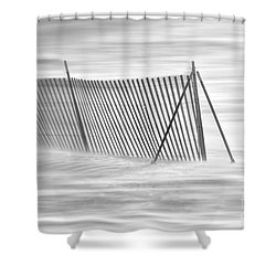 Blowing Snow At Snow Fence  Shower Curtain by Dan Friend