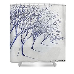 Blowing Trees Shower Curtain