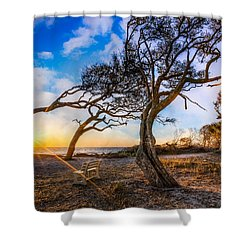 Blowing With The Wind Shower Curtain by Debra and Dave Vanderlaan