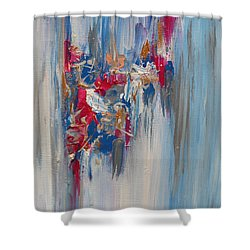 Blue Abstract Landscape Shower Curtain
