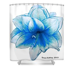 Blue Amaryllis Shower Curtain
