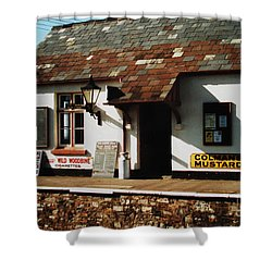 Blue Anchor Ticket Office Shower Curtain by Martin Howard