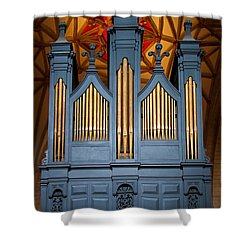 Blue And Gold Music Shower Curtain