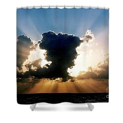 Shower Curtain featuring the photograph Blue And Gold Rays Sunset In The Gulf Of Mexico Off The Coast Of Louisiana by Michael Hoard