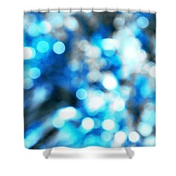 Shower Curtain featuring the digital art Blue And White Bokeh by Fine Art By Andrew David