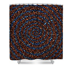 Blue And Orange Circles Shower Curtain