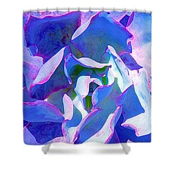 Blue And Purple Succulent Close Up Shower Curtain by Amy Vangsgard
