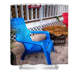 Blue And Red Chairs Shower Curtain by Michael Thomas
