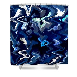 Blue And Turquoise Abstract Shower Curtain by Carol Groenen