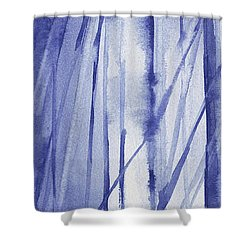 Blue And White Abstract Panoramic Painting Shower Curtain