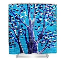 Blue And White Shower Curtain by Anastasiya Malakhova