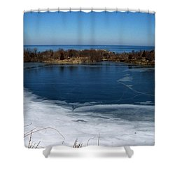 Blue And White Shower Curtain by Catherine Gagne