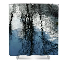 Blue And White Reflections Shower Curtain