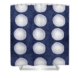Blue And White Shibori Balls Shower Curtain by Linda Woods