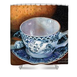 Blue And White Teacup With Spoon Shower Curtain