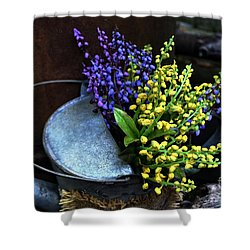 Blue And Yellow Flowers Shower Curtain by Mary Machare