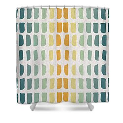 Blue And Yellow Pattern Shower Curtain by Aged Pixel
