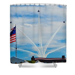 Blue Angels Bomb Burst In Air Over Fort Mchenry Finale Shower Curtain